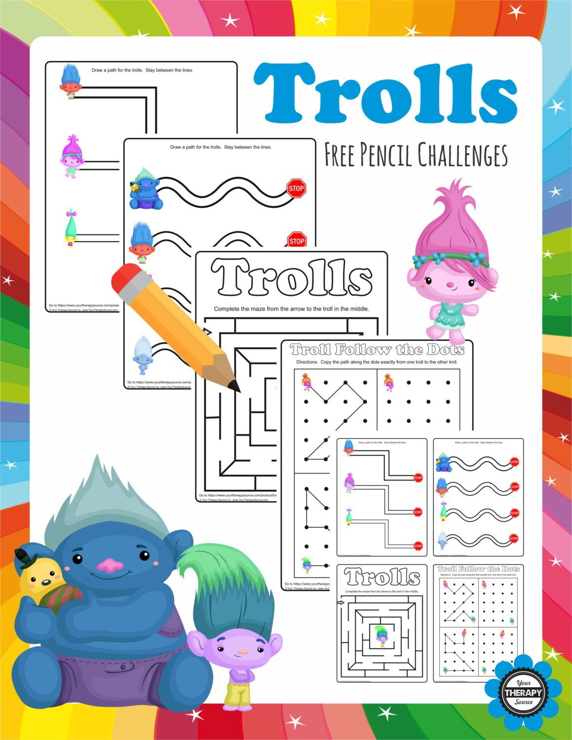 Trolls Pencil Challenges