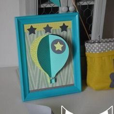 Illustration Enfant Tableau Cadre Montgolfière 3d Vert Anis Turquoise Gris  étoile   Décoration Chambre Bébé Enfant Garçon