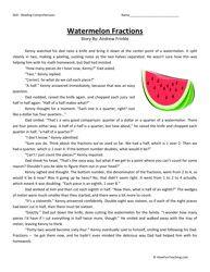 Fourth Grade Reading Comprehension Worksheet - Watermelon ...