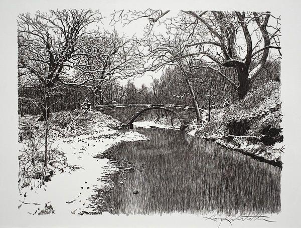 Snow Bridge By Gary Gackstatter Landscape Sketch Landscape Drawings Landscape Pencil Drawings