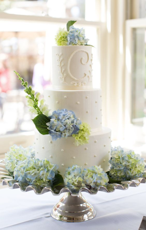 Blue Hydrangea Topped White Wedding Cake White Wedding Cakes