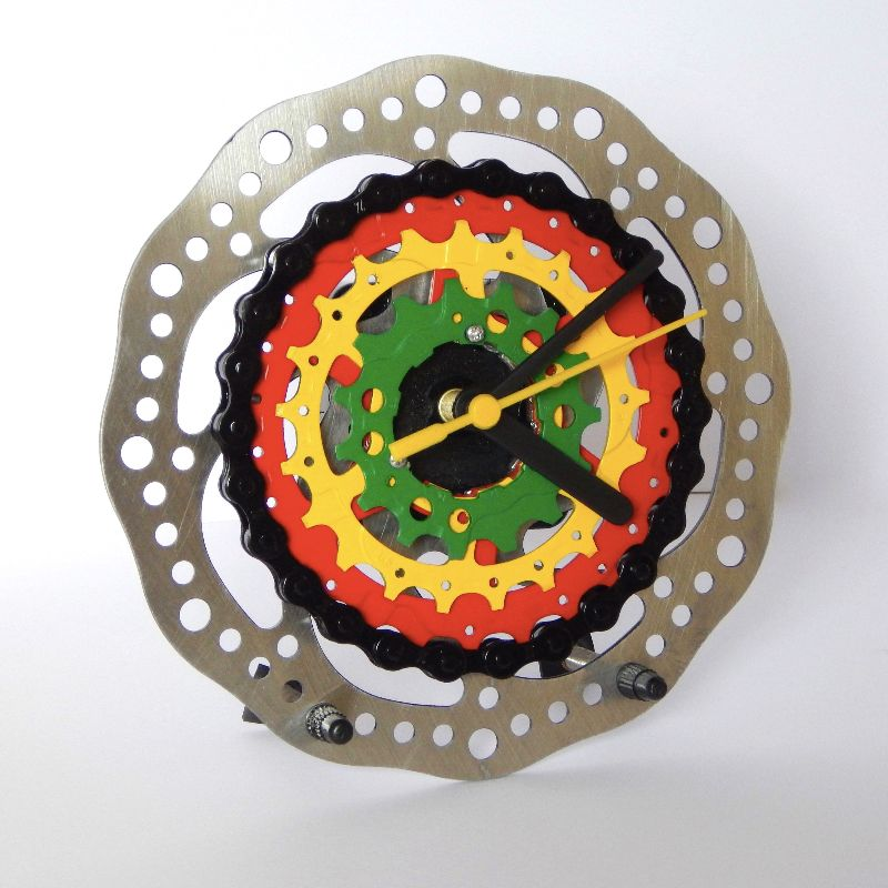 custom made desk clock made from recycled bike parts for a rasta fan