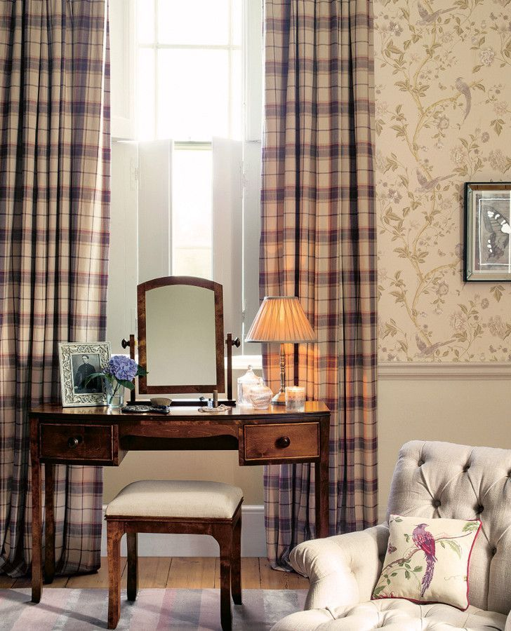 Bedroom Decorating Ideas Laura Ashley highland check grape fabric | laura ashley, window and bedrooms