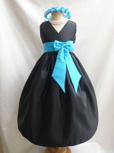 BLACK Flower Girl Dress Bridesmaid Wedding Birthday Party Graduation Pageant