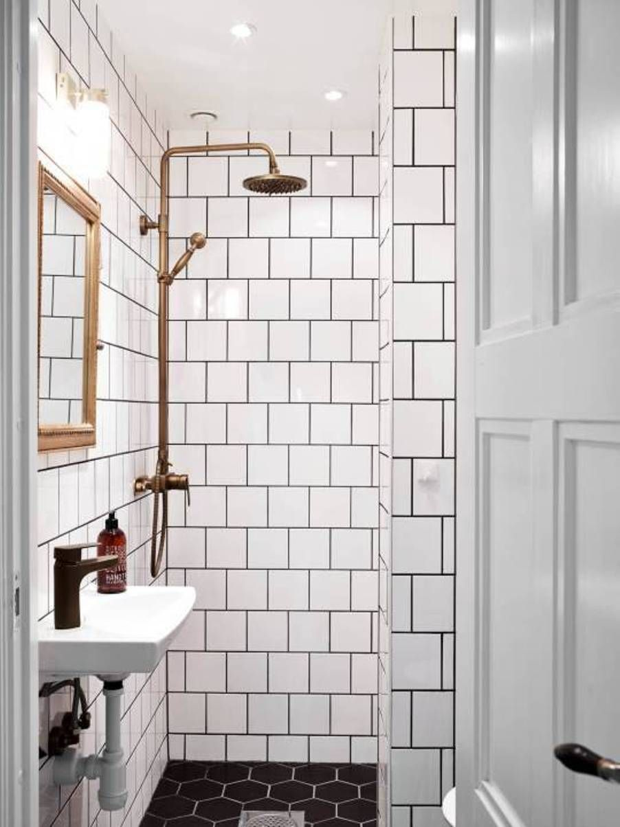 Scandinavian Bathroom Designs With Subway Tile Walls And Black Hexagon Floor Tiles Copper Shower Sink Bracket