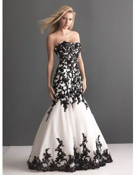 5304109bcc228 Strapless sweethart black and ivory white lace tulle court train mermaid  wedding dresses bw-012 - Black and white wedding gowns - Only Love
