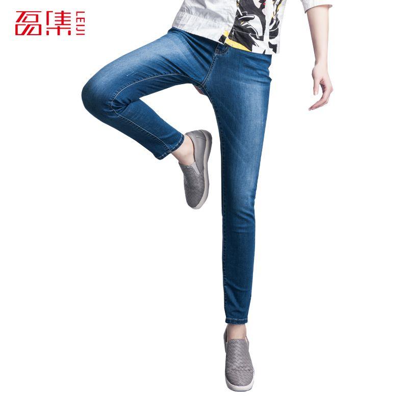 4f5b14303eb Leiji Fashion S 6XL 2016 Autumn Style Elastic Plus Size Women Light Washed Mid  Waist Woman