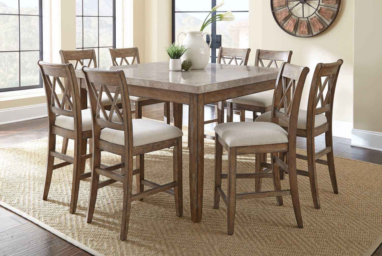 Franco 9 Piece 54 Inch Square Counter Height Table W Marble Top