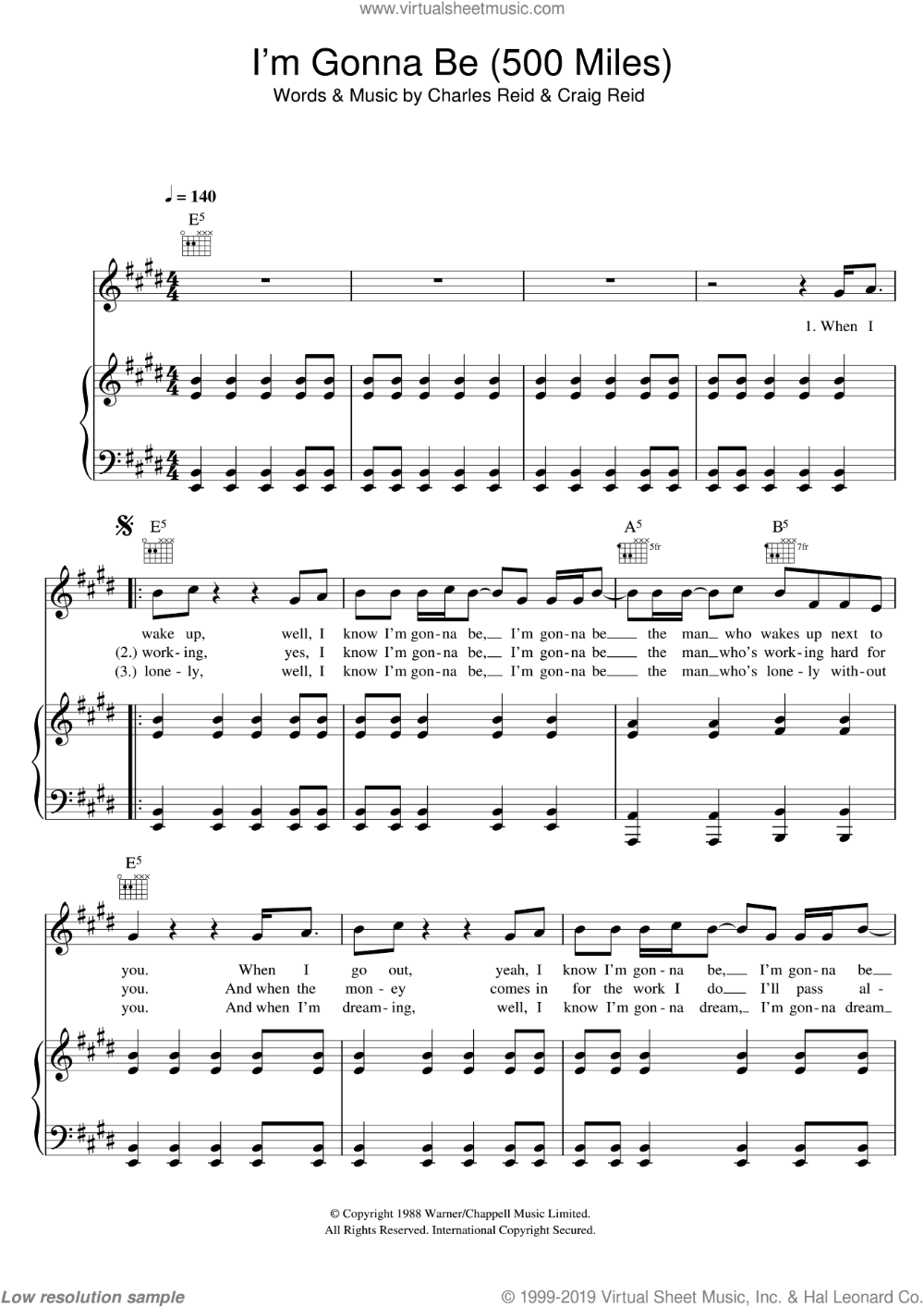 Proclaimers   I'm Gonna Be 15 Miles sheet music for voice ...