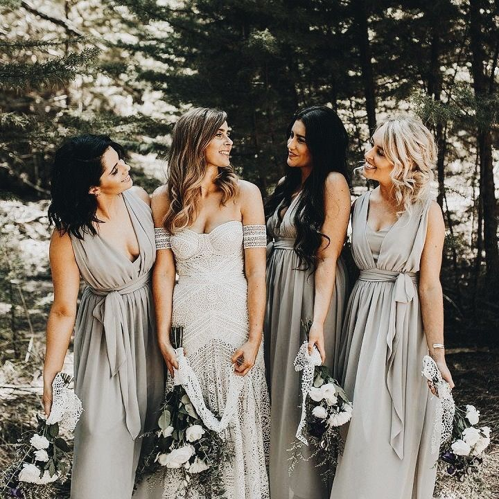 Love The Light Grey Bridesmaids Dresses With MOH In A Shade Darker Than