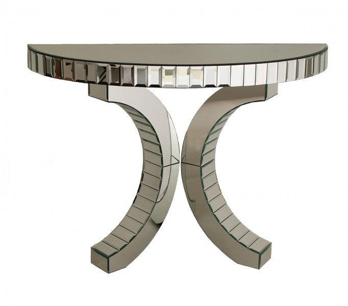 Quartz Mirrored Half Moon Console Table Luxury Art Furniture