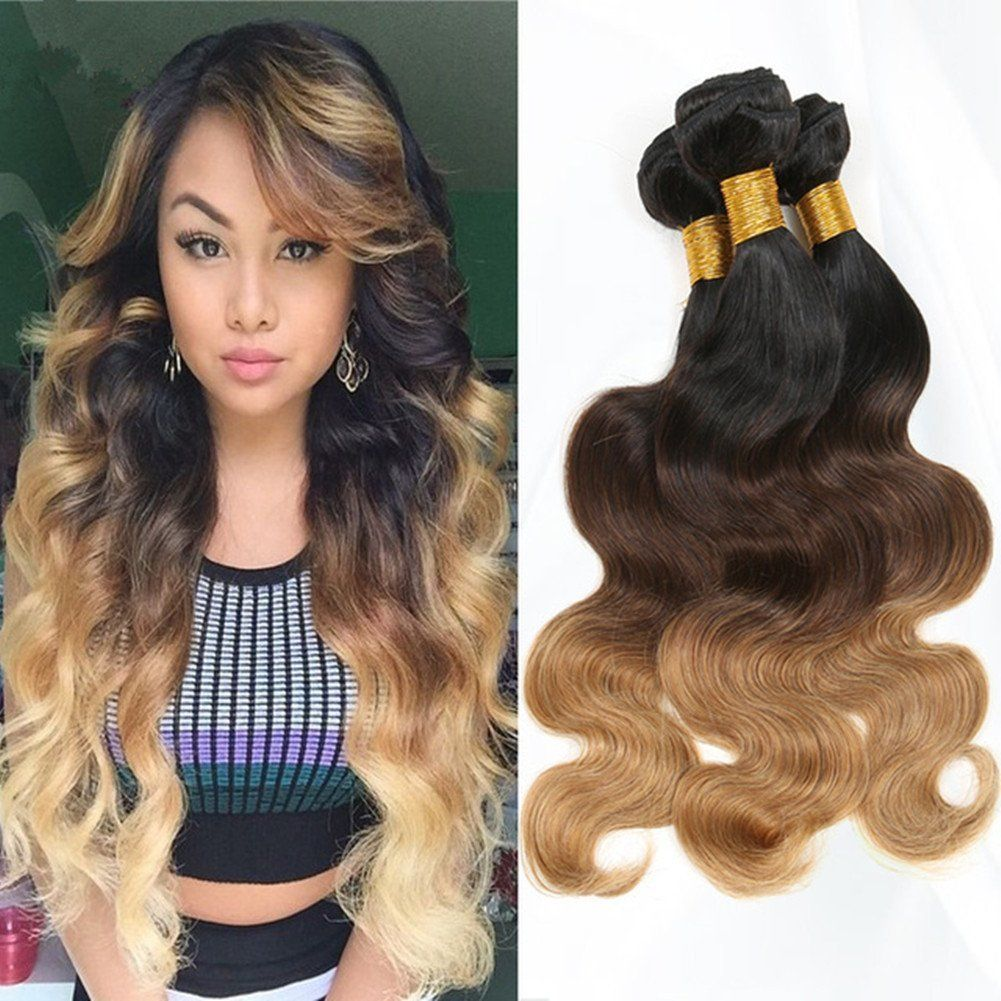 Moresoo 16 18 20 Inch 300g 3 Bundles Three Tone Hair 1b427