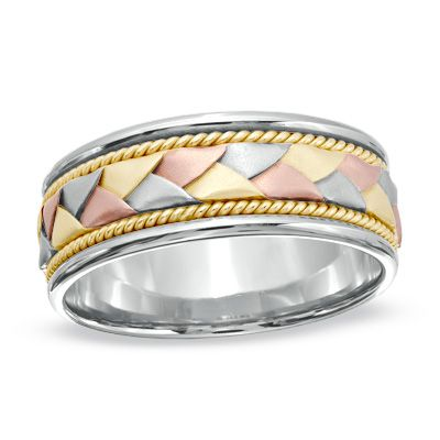 Men S 14k Tri Color Gold Woven Wedding Band Peoples Jewellers