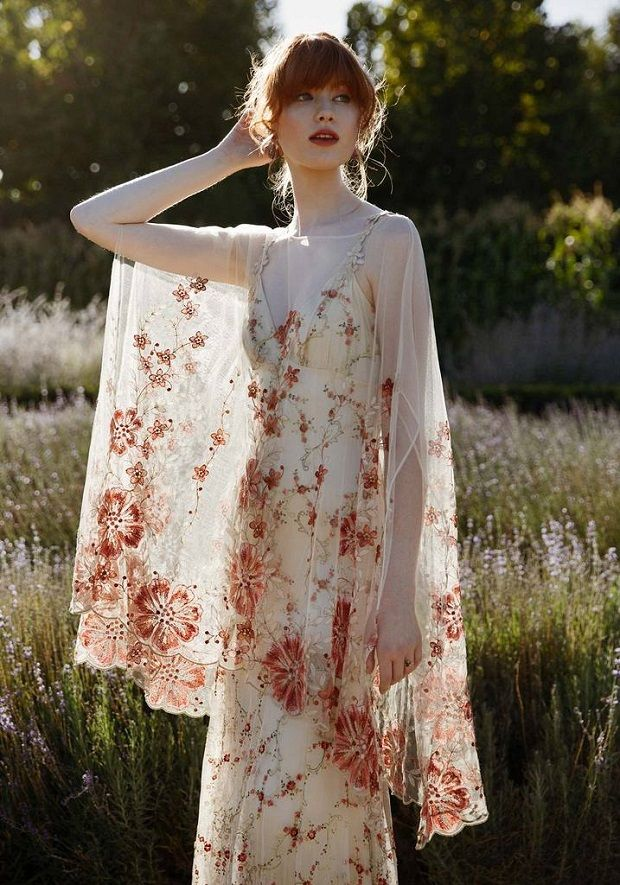 Boldly Boho Embroidered Wedding Dresses With Colourful Florals Onefabday Com Colored Wedding Dresses Embroidered Wedding Dress Alternative Wedding Dresses