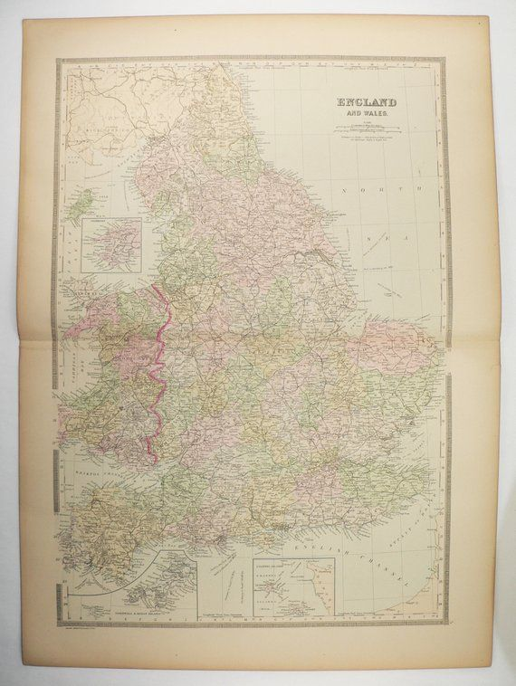 Large Map Of England.Large Map Of England 1889 Bradley Map United Kingdom Great