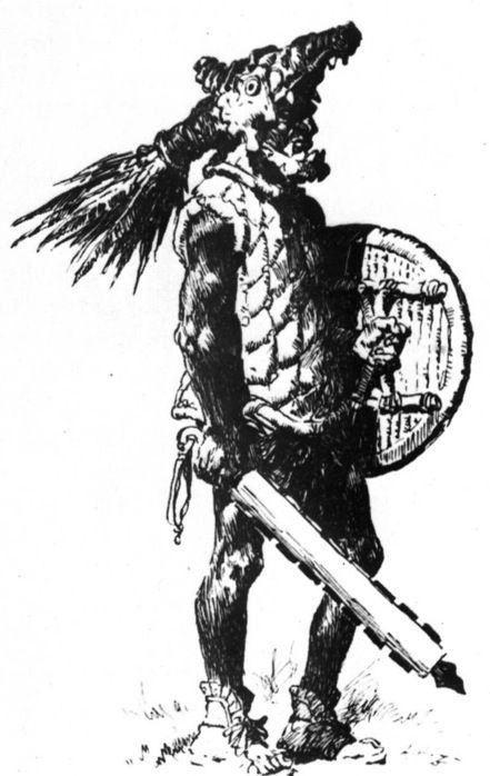An Aztec warrior, dressed in quilted-cotton armor and carrying the maquahuitl, an obsidian edged sword.