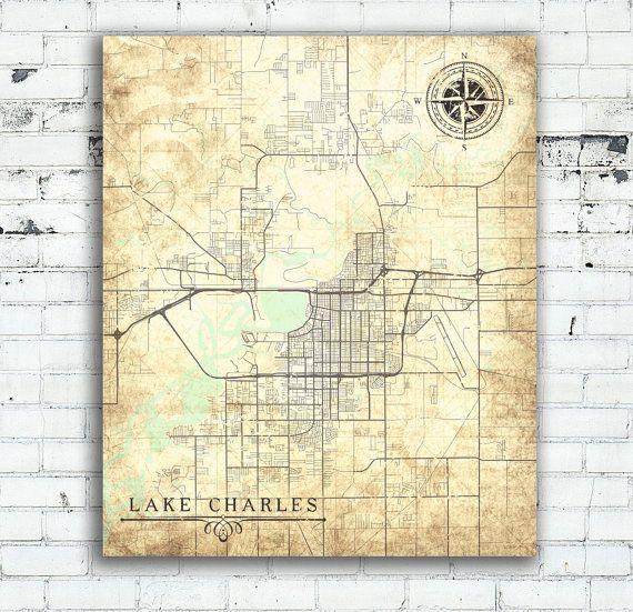 LAKE CHARLES Canvas Print Louisiana LA City Vintage map Town Poster ...