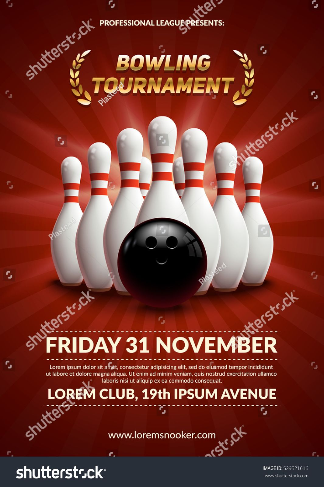 Bowling Tournament Poster 3d Ball And Skittles Composition Eps10 Vector Template Ad Spon Poster Ball Bowling Tourn Bowling Tournament Bowling Skittles