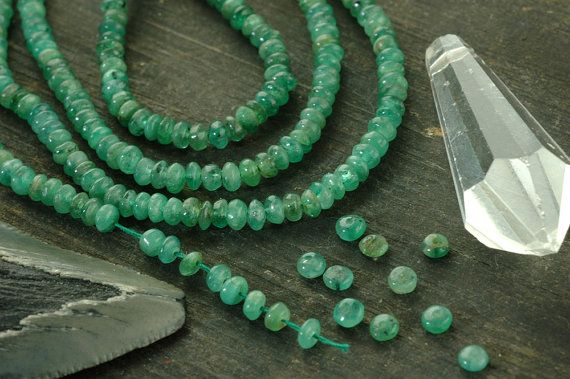 "Emerald Smooth Rondelles / 90 beads 3x1.5mm, 6"" strand / Natural Green Gemstone / Organic Craft, Jewelry Making Supplies"