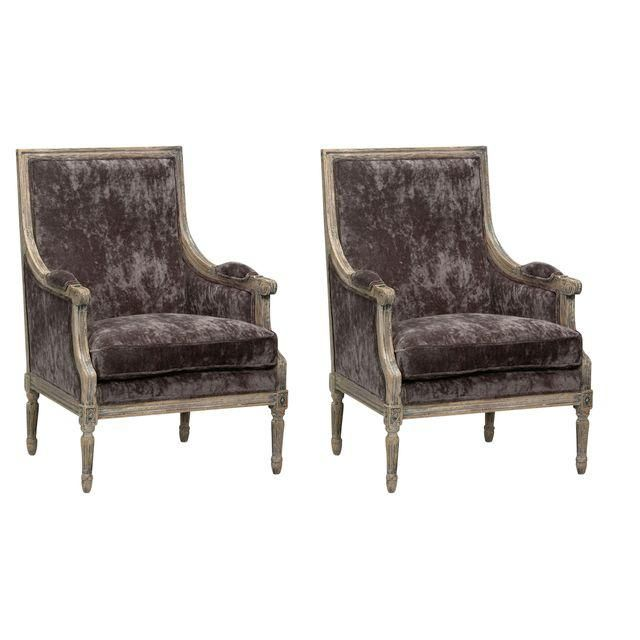 Sarreid Ltd Velvet 'Orleans' Salon Chair - a Pair