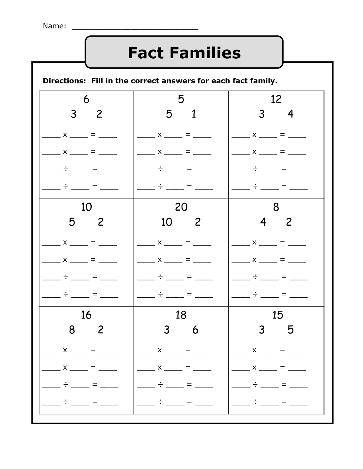 Fact Families Worksheet For Elementary School
