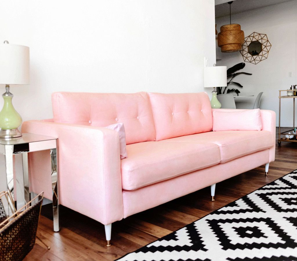ikea hack karlstad pink midcentury inspired sofa