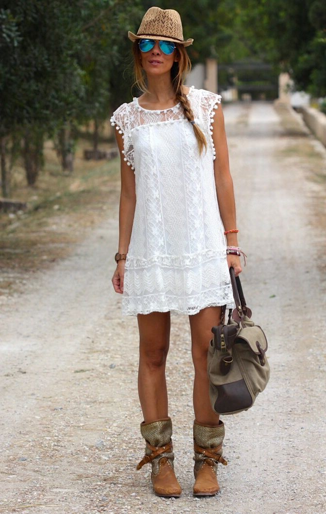 36ba5509a196 White Lace Dress And Boots 2017 Street Style. short white dresses and boots  - Google Search
