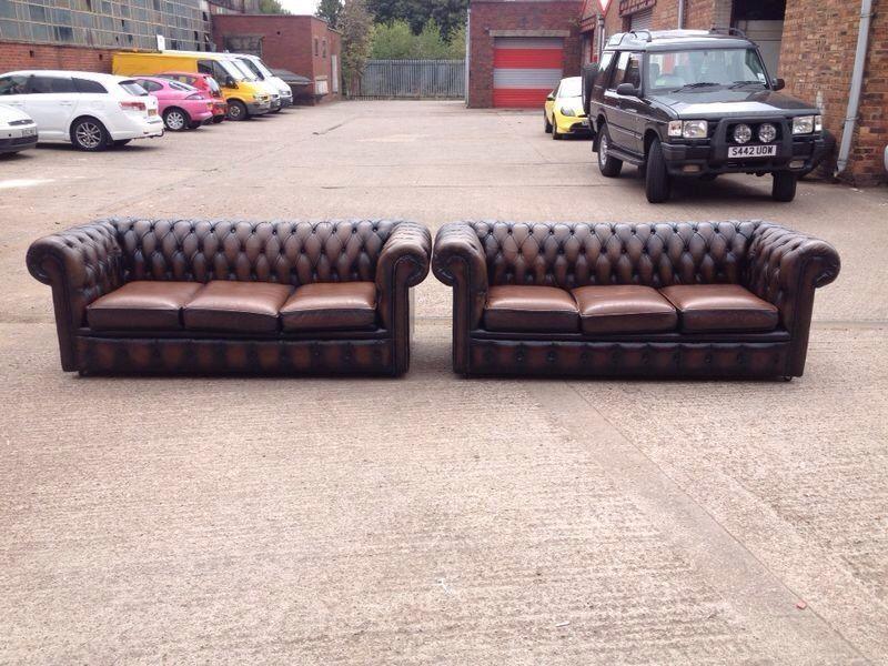 Peachy Stunning Original Brown Leather Chesterfield 3 Seater Sofas Machost Co Dining Chair Design Ideas Machostcouk