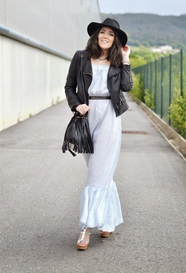 389eabbd8f  roressclothes closet ideas  women fashion White Dress Outfit with Black  Leather Jacket