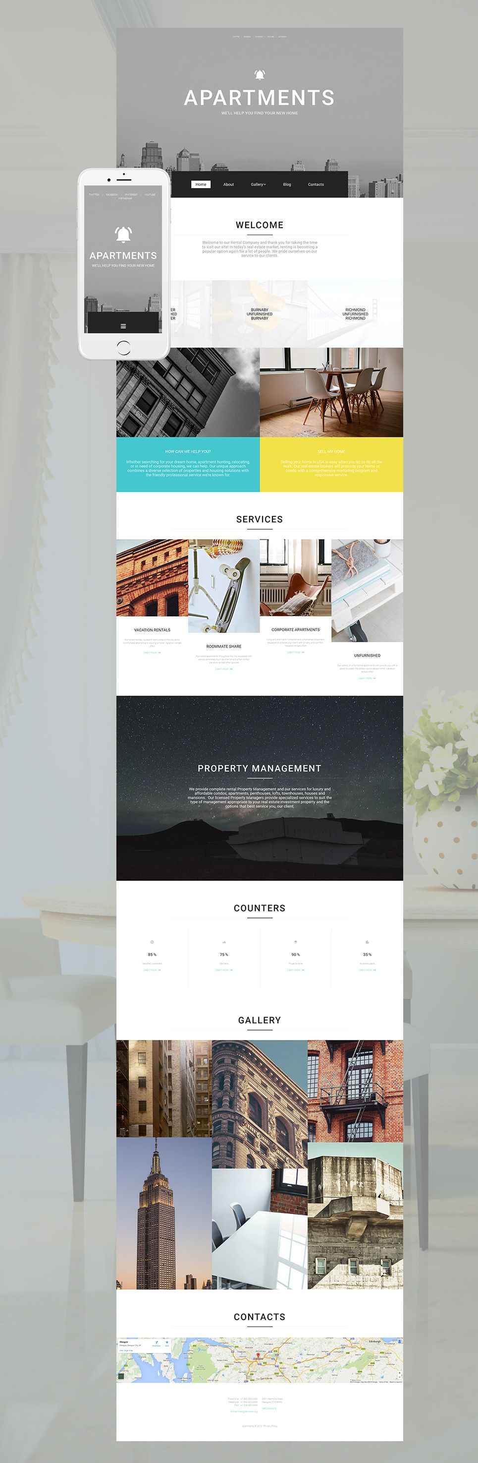 Real Estate Agency Responsive Moto CMS 3 Template | Template, Real ...