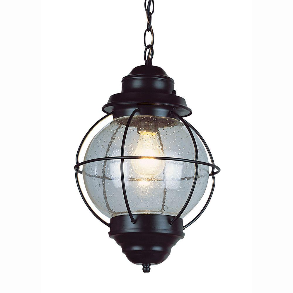 Bel Air Lighting Lighthouse 1 Light Outdoor Hanging Black Lantern With Seeded Glass 69903 Bk Outdoor Hanging Lights Outdoor Pendant Lighting Black Hanging Lighting
