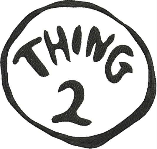 photo relating to Thing 1 and Thing 2 Printable identified as Dr. Seuss Matter 2 Product Embroidery Structure 4x4 and 5x7