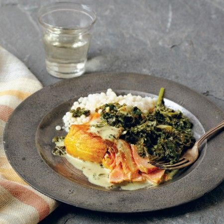 This recipe for Creamy Wild Salmon with Kale comes from INDIAN COOKING UNFOLDED by Raghavan Iyer, our Top Pick in Cookbooks!