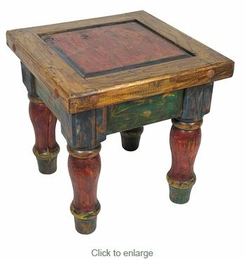 Old Mexico Painted Wood End Table Mexican Furniture Painted