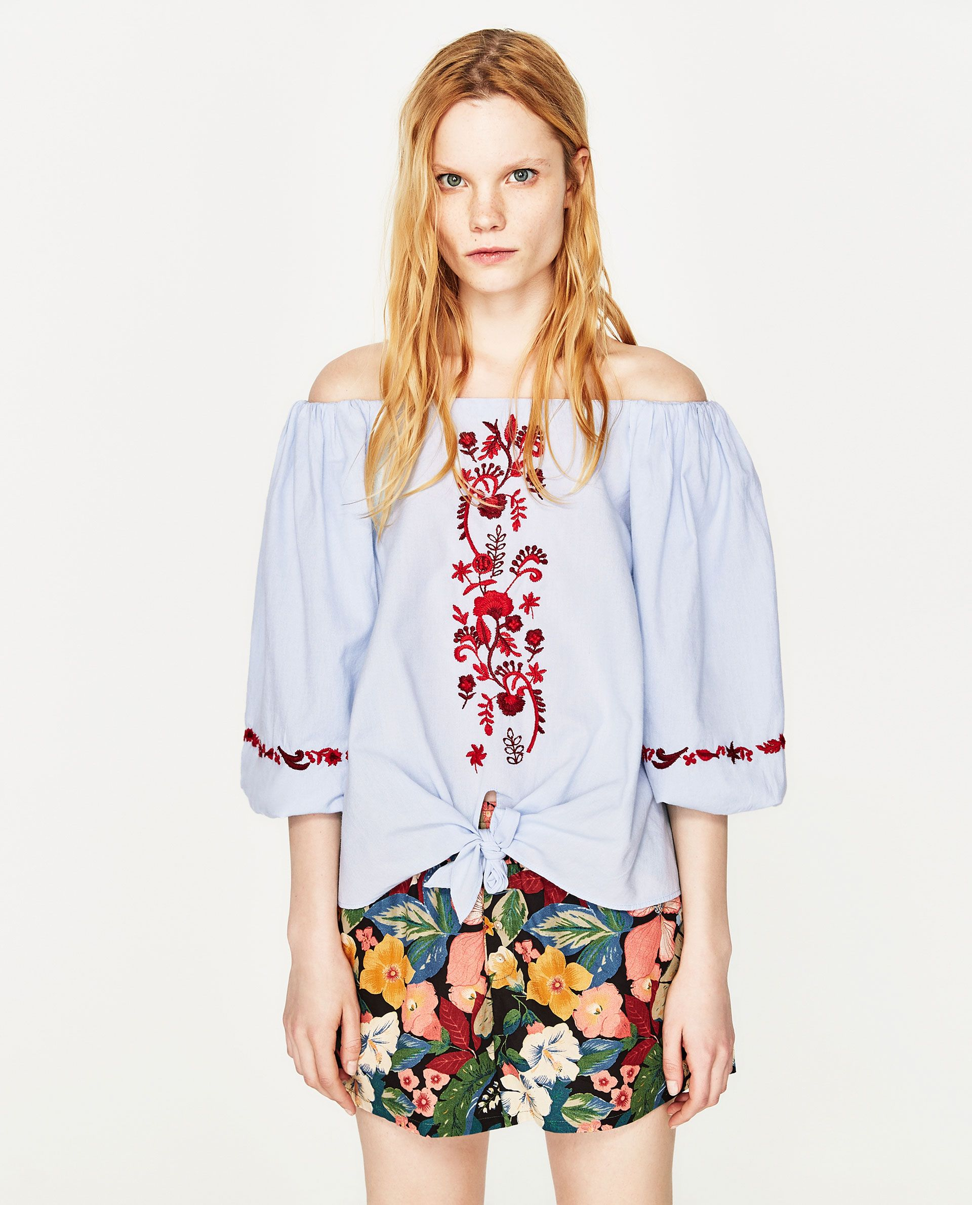 d49f4d08e5f ZARA BLUE EMBROIDERED OFF-THE-SHOULDER TOP | Vacation Outfit Spring ...