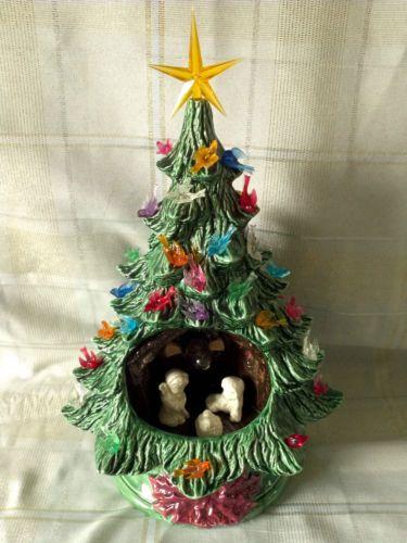 Vtg Ceramic Christmas Tree With Nativity Scene Inside Bird Bulbs