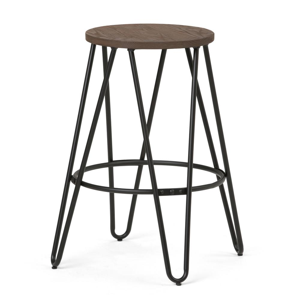 Simpli Home Simeon 24 In Black And Cocoa Brown Industrial Metal