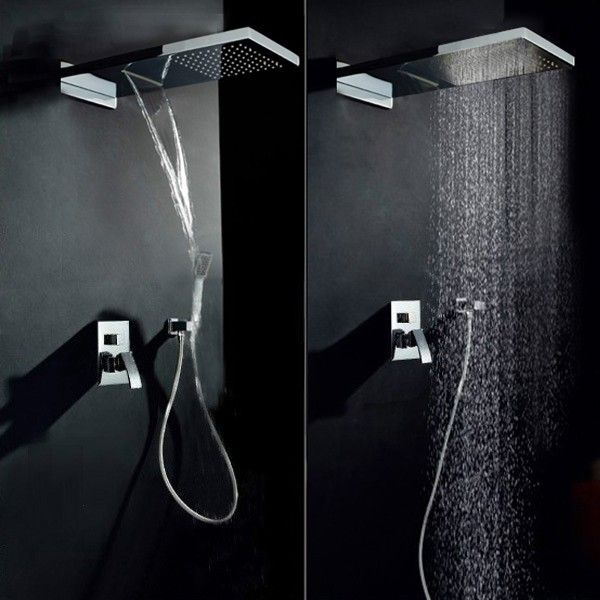 Luxury Waterfall Rain Shower Head & Hand Shower Set | decor detail ...