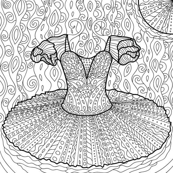 Printable Coloring Page Zentangle Dance Coloring Book Etsy Dance Coloring Pages Coloring Pages Printable Coloring Pages