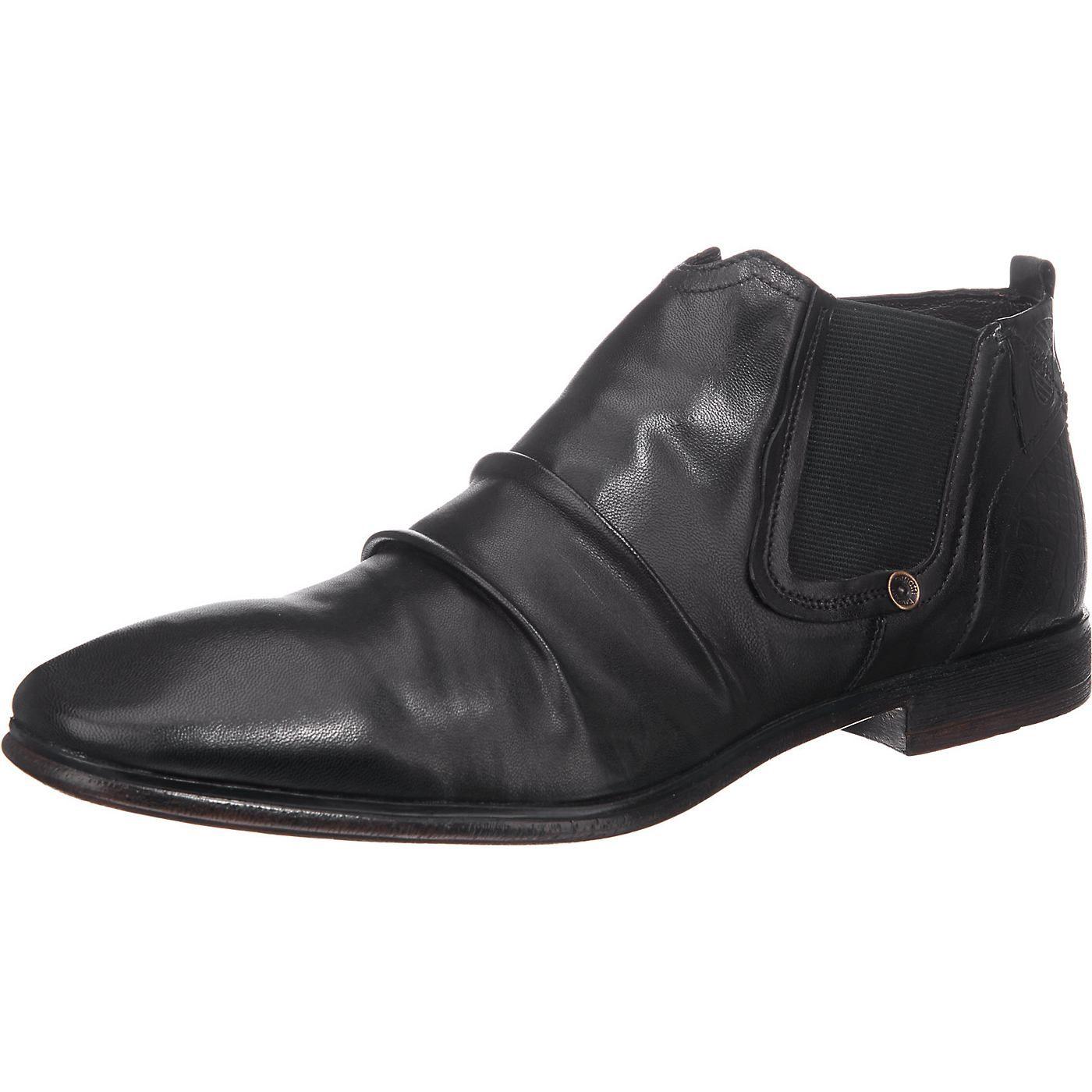 Die bugatti Business Schuhe besitzen außen wie innen eine weiche Lederausstattung. Der knöchelhohe Schnitt und das in Falten gelegte Obermaterial sorgen für einen lässigen Look.   - Verschluss: Reißverschluss - Absatzart: Blockabsatz - Absatzhöhe: ca. 2,2 cm - Webgummieinsätze auf einer Seiten  Obermaterial: Leder (Nappaleder) Futter: Leder Decksohle: Materialmix aus Leder und Textil Laufsohle:...