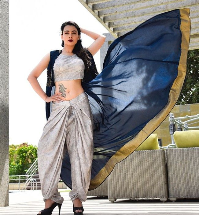 ddafe8ace6 Silk dhoti pant and crop top blouse with airy jacket. | Indo-Western ...