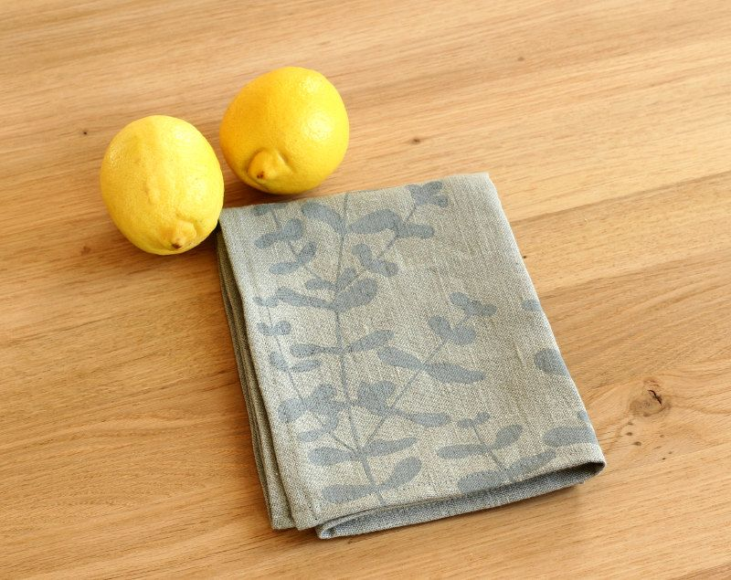 Grey tea towel - Eucalyptus on linen by #LesMiniboux on Etsy 19€ Click to see details and buy