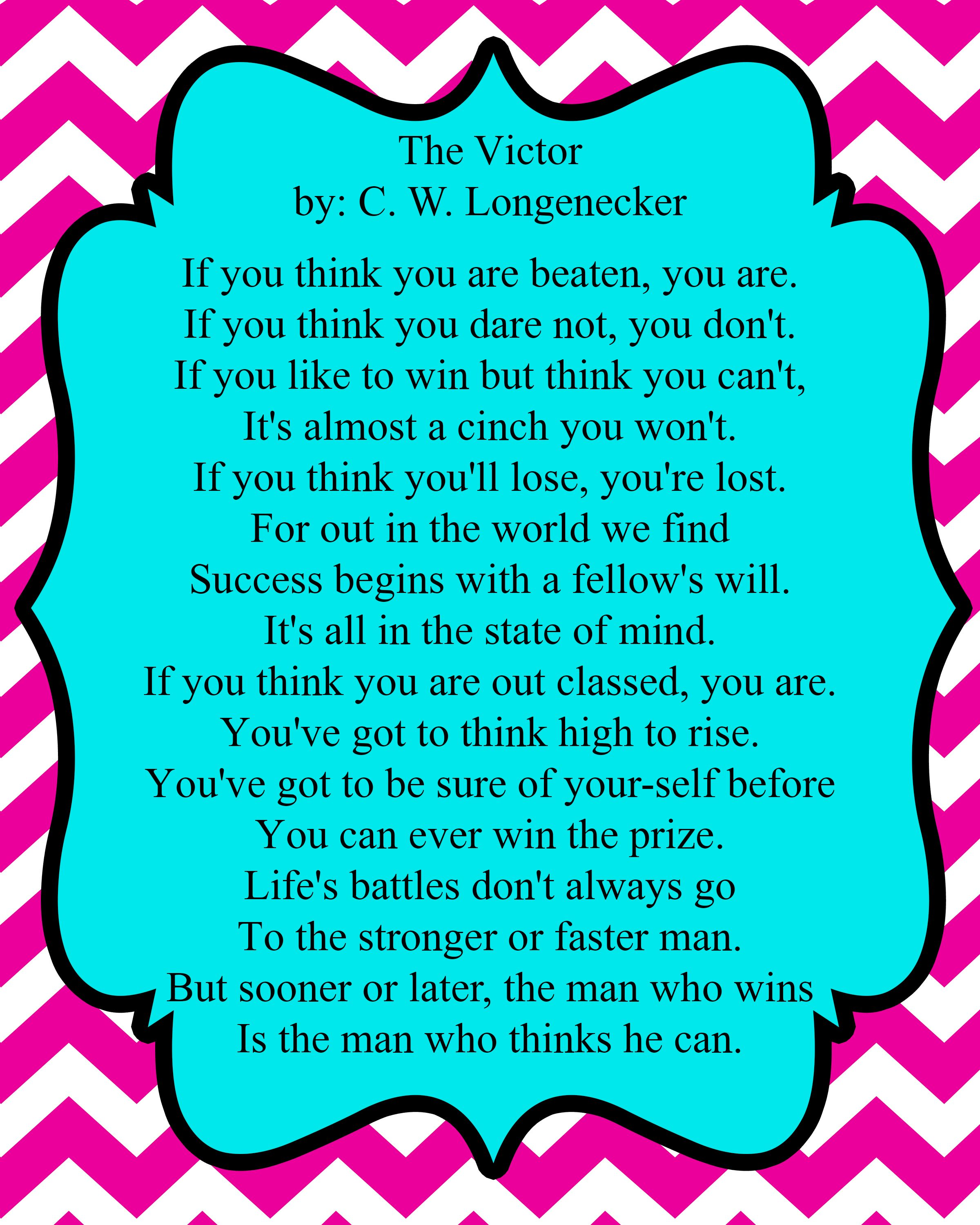 The Victor by C. W. Longenecker Inspirational Quotes