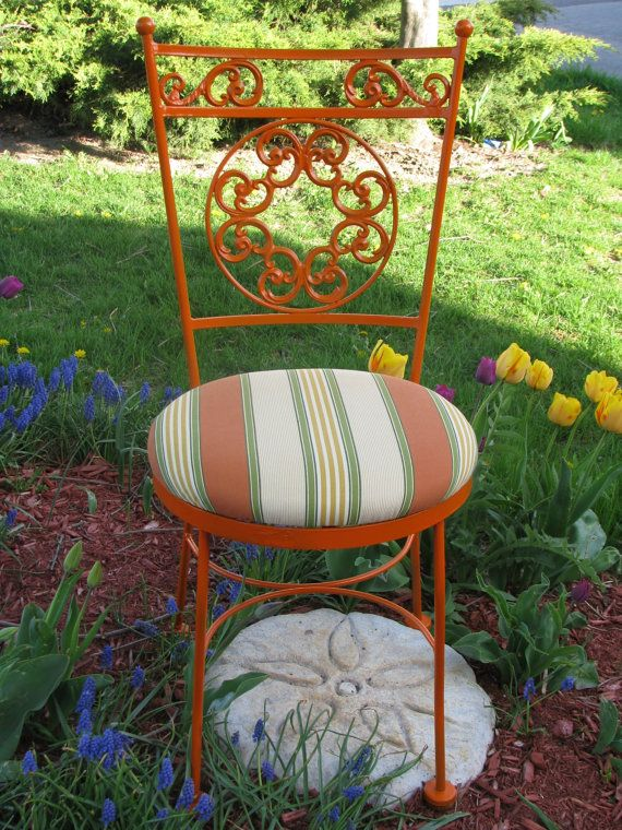 Vintage Wrought Iron Penelope Hauser By VictorianRehabDesign, $195.00  Upcycled Patio/garden Chair