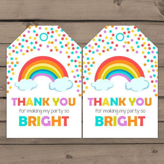 Printable Thank You Card Rainbow Party Rainbow Favor Rainbow Birthday Party Rainbow Note Card Rainbow Birthday Rainbow Thank You Card