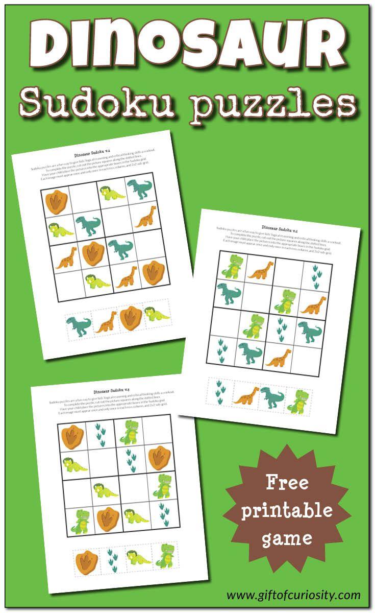 Dinosaur Sudoku Puzzles {free printables | Dinosaurs images ...