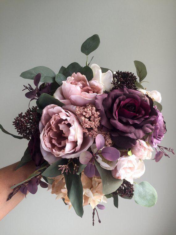 Fall Wedding Bouquet, Purple Bridal Bouquet, Silk Wedding Bouquet, Autumn Bridal Bouquet, Artificial Flower Bouquet, Dusty Rose Bouquet #fallbridalbouquets