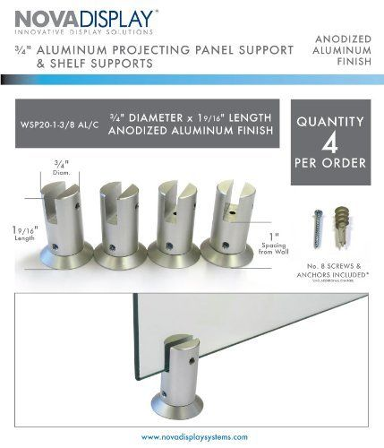 3 4 Dia X 2 L Aluminum Panel Support For Panels Up To 4 6 5mm 5 32 1 4 Thick Spacing From Wall 25mm 1 Fo Aluminum Shelves Home Hardware Signage