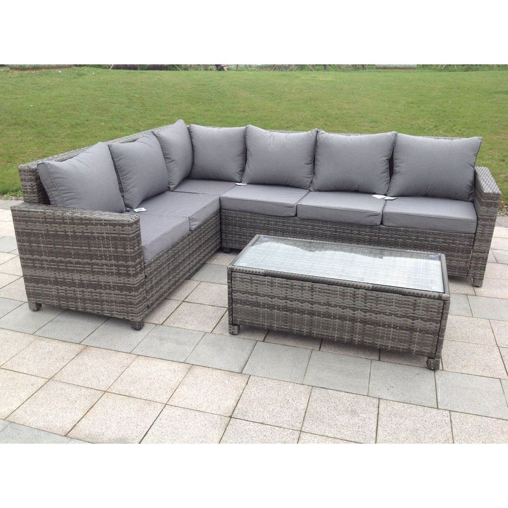 Rattan Sofa Corner Set Rattan Outdoor Corner Sofa Set Garden Furniture In Grey In 2019