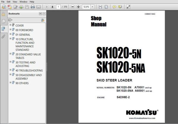 Komatsu Sk1020 5n Sk1020 5na Skid Steer Loader Shop Manual Cebm013902 Pdf Download In 2020 Skid Steer Loader Komatsu Manual